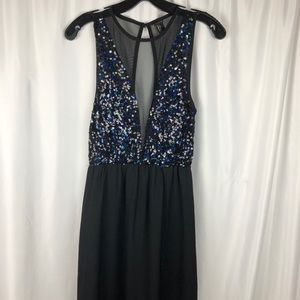 Forever 21 Long Black Dress with Sequin top Sz S